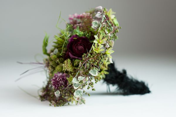 whimsical bouquet with black feathered handle, detail 1, Françoise Weeks