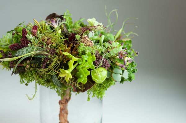 woodland bouquet with handle covered with bark shavings, Françoise Weeks