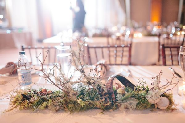 woodland centerpiece for long tables, West End Ballroom, Françoise Weeks
