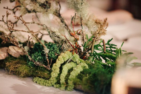 woodland centerpieces for long tables, detail 2, West End Ballroom, Françoise Weeks