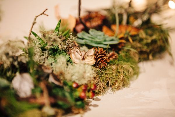 woodland centerpieces for long tables, detail 3, West End Ballroom, Françoise Weeks
