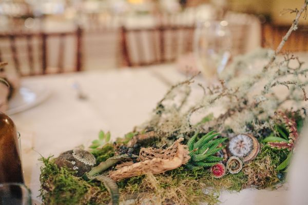 woodland centerpieces for long tables, detail, West End Ballroom, Françoise Weeks