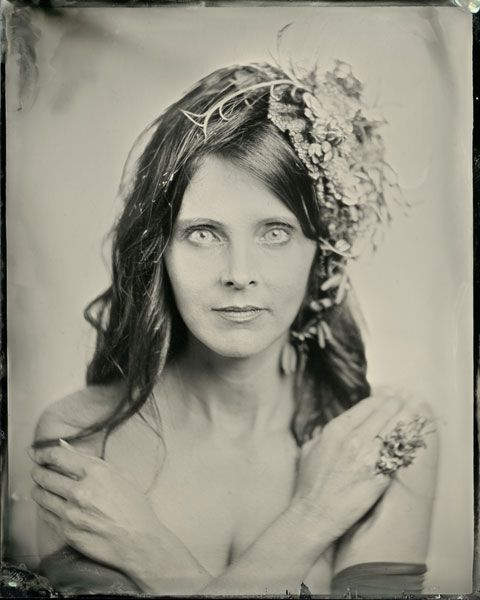 botanical headpiece and ring, wet plates, Françoise Weeks