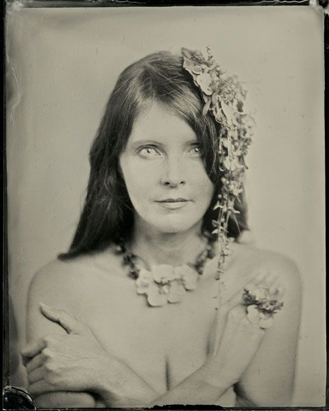 botanical headpiece, ring  and necklace, wet plates, Françoise Weeks