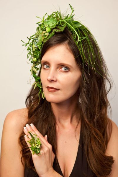 green botanical headpiece  and ring, Françoise Weeks