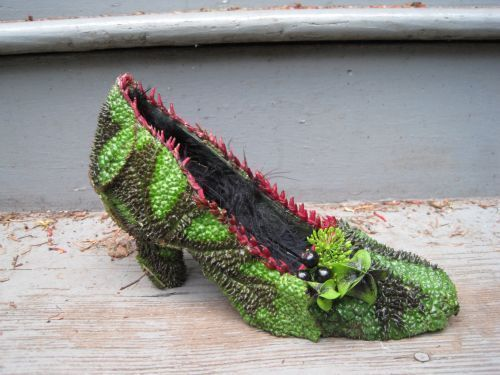 botanical shoe covered with begonia leaves andaccented with nicandra pod, dill, Françoise Weeks
