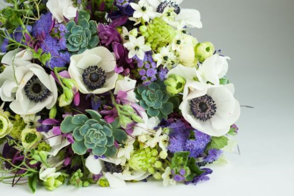 hand-tied bouquet with white and purple flowers and texture, Françoise Weeks