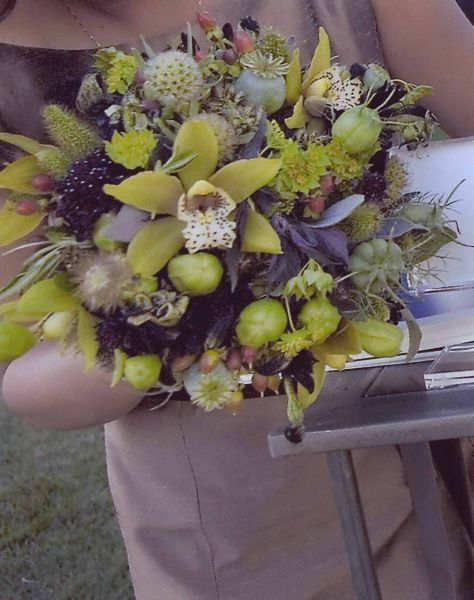 textured bridesmaid's bouquet with orchids, Françoise Weeks