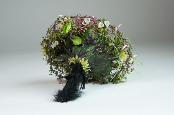 whimsical bouquet with black feathered handle, detail 5, Françoise Weeks