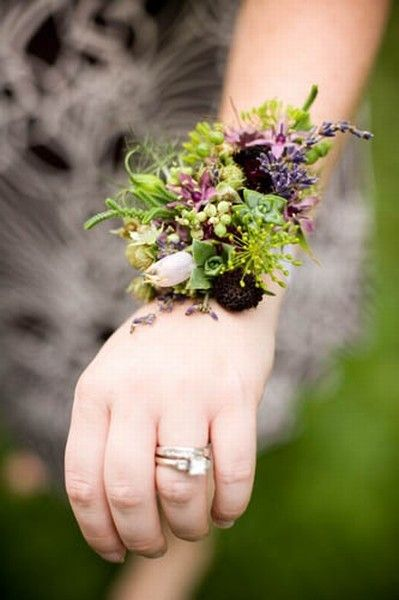 wrist corsage purple blossoms, berries, herbs Françoise Weeks