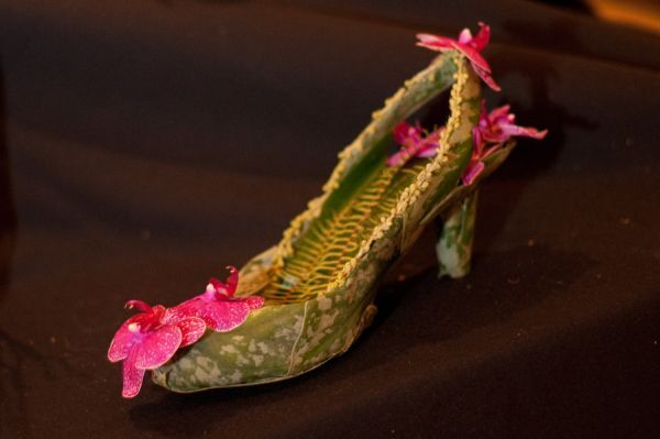 botanical shoe  with orchids and ferns, Françoise Weeks