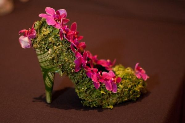 botanical shoe with orchids and moss, Portland Art Museum, Françoise Weeks