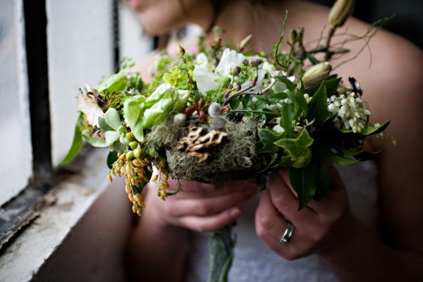 woodland bridal bouquet with texture and dogwood 1, Françoise Weeks