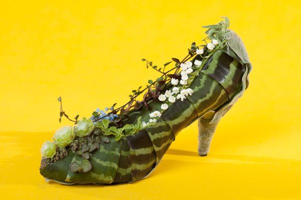 botanical shoe with lily of the valley , Françoise Weeks