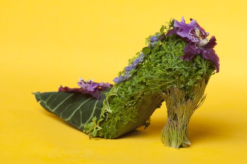 botanical shoe with mask leaves, orchid , Françoise Weeks