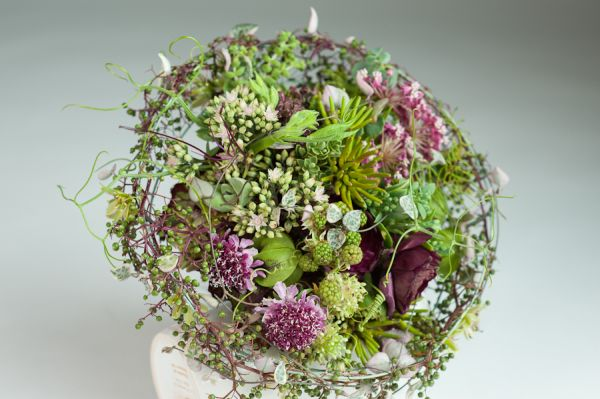 whimsical bouquet with black feathered handle, Françoise Weeks