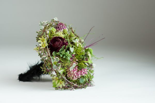 whimsical bouquet with black feathered handle, detail 2, Françoise Weeks