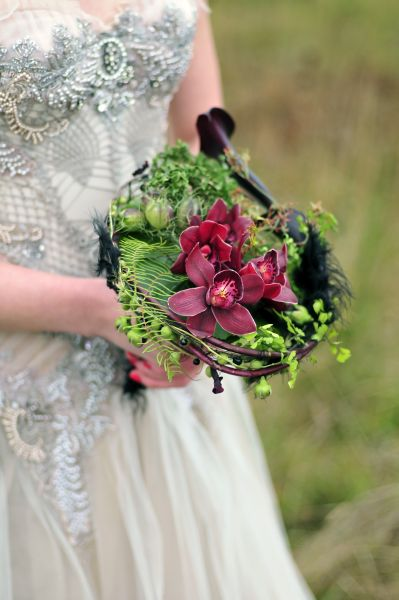 whimsical bridal bouquet with burgundy flowers , Françoise Weeks