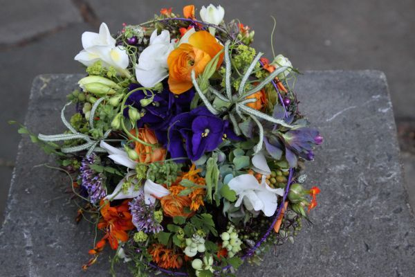 whimsical bridal bouquet with orange, purple and white flowers 1, Françoise Weeks