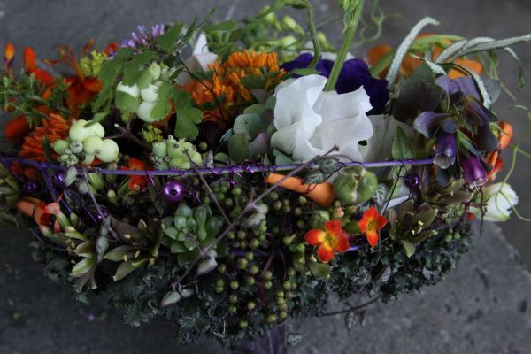 whimsical bridal bouquet with orange, purple and white flowers 9, Françoise Weeks