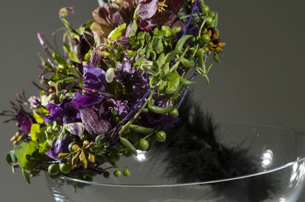 whimsical bridal bouquet with purple and green  flowers , Françoise Weeks
