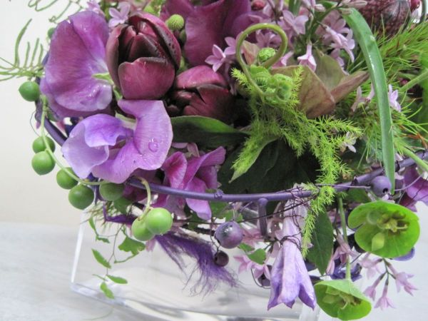 whimsical bridal bouquet with purple flowers , Françoise Weeks