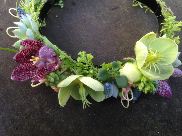 botanical choker with hellebore, muscari and fritillaria, Françoise Weeks