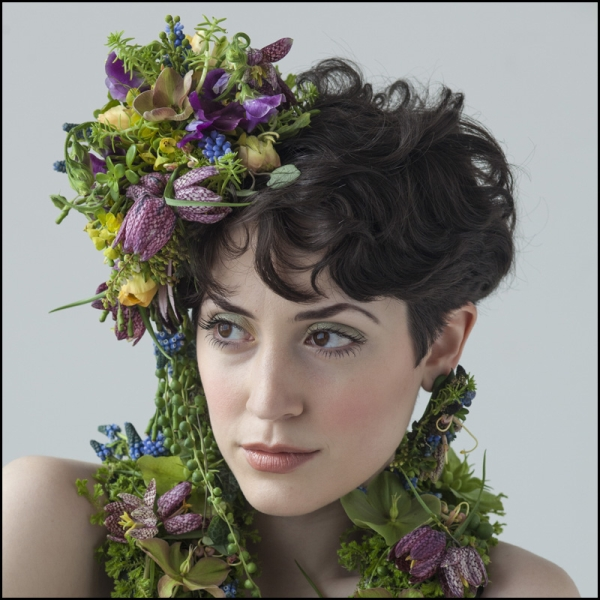 botanical headpiece and scarf with hellebore, muscari and fritillaria, Françoise Weeks