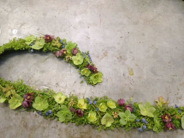 botanical scarf with hellebore, muscari and fritillaria, Françoise Weeks