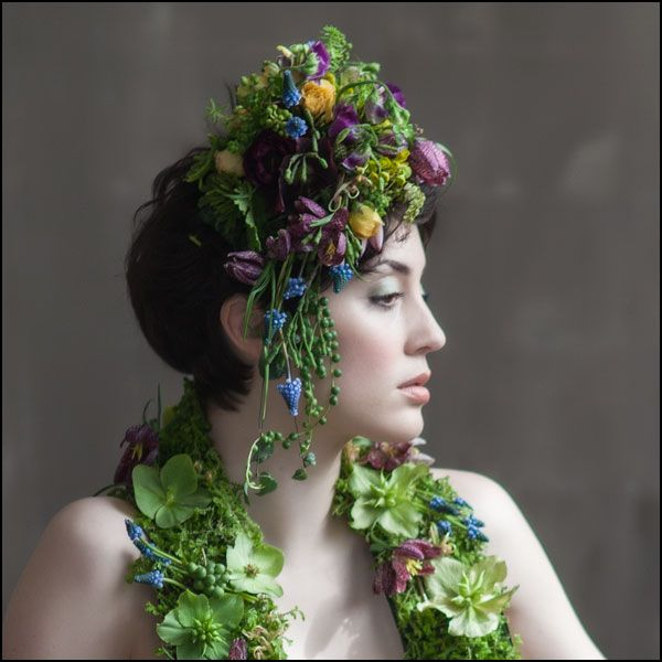 headpiece and scarf with muscari, Françoise Weeks