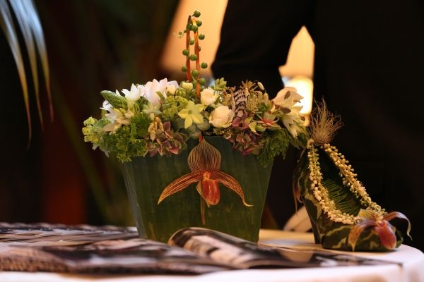 botanical shoe and purse with lady slipper orchids, Benson Hotel, Françoise Weeks