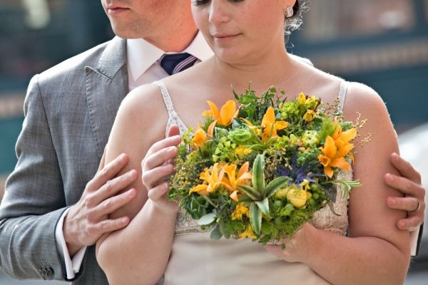 bridal bouquet with yellow orchids, Françoise Weeks