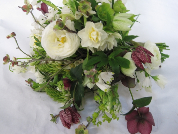 spring hand-tied with hellebore, frittilaria, snowdrops and texture, Françoise Weeks