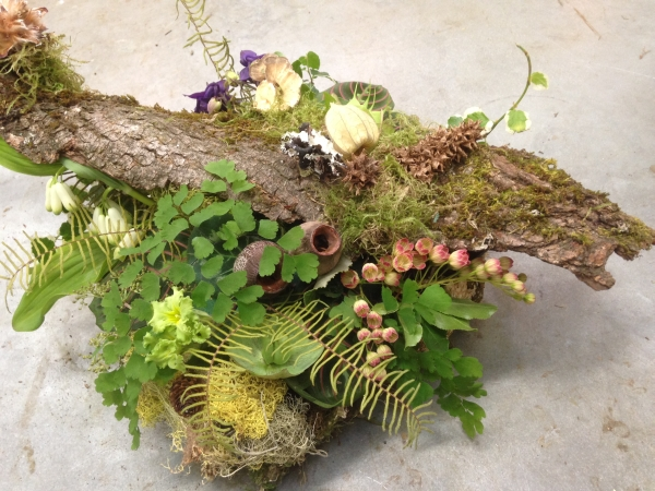 woodland centerpiece , designed by Zapote, wedding workshop in studio, May 2014