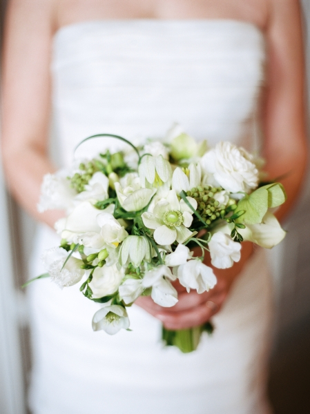 white and green bridal bouquet, First Unitarian Church, Françoise Weeks