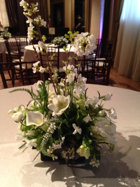 white and green centerpiece 2, West End Theater, Françoise Weeks