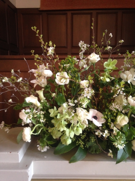 white and green garden arrangement, detail 1, First Unitarian Church, Françoise Weeks