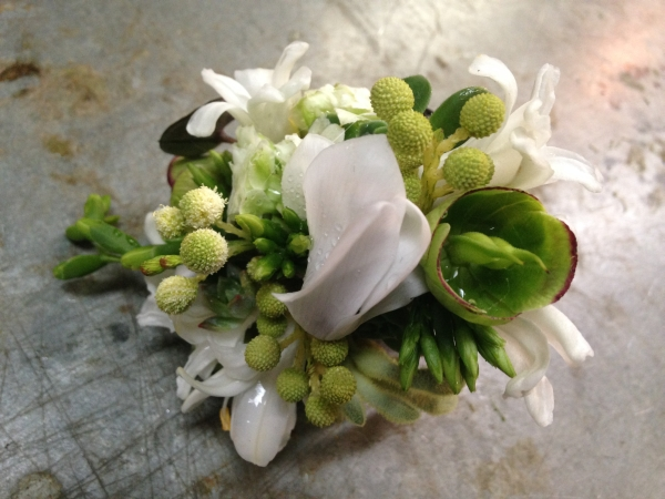 white and green wrist corsage,  Françoise Weeks