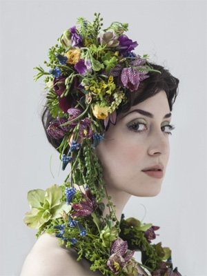 botanical headpiece and scarf with muscari, hellebore and fritillaria -3, Francoise Weeks