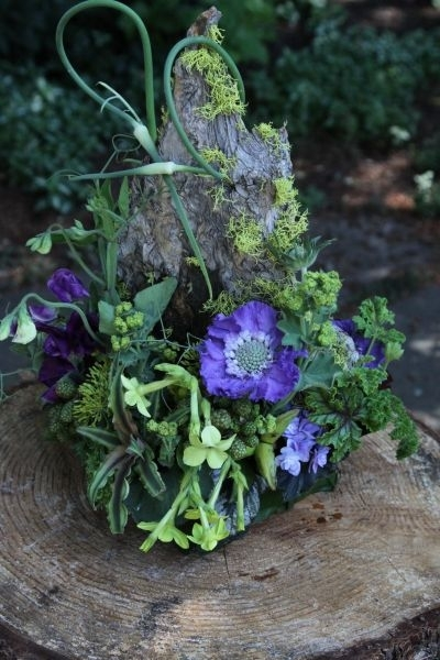 woodland centerpiece with  purple flowers, 2 Francoise Weeks