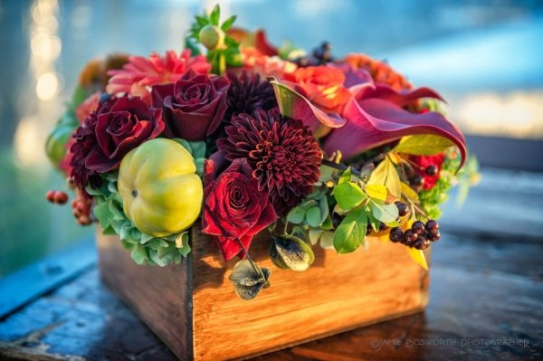 a fall arrangement in wooden box, Françoise Weeks