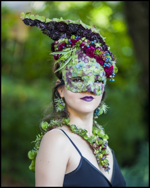 botanical mask-headpiece ,necklace and earrings, flower and texture Francoise Weeks