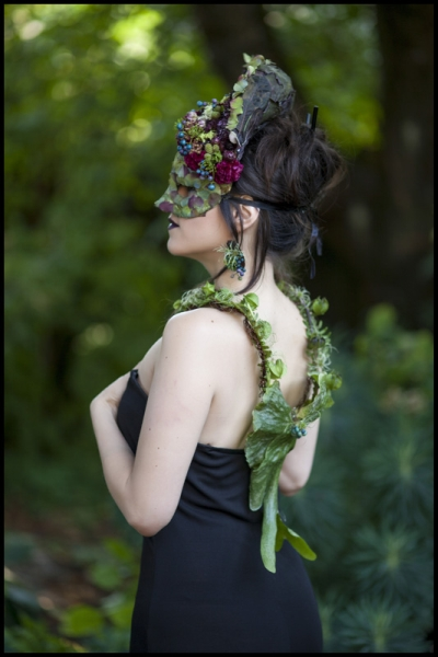 botanical mask-headpiece, necklace and earrings, flower and texture Francoise Weeks