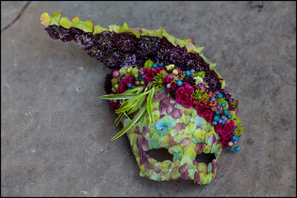 botanical mask-headpiece with hydrangea blossoms, flower and texture Francoise Weeks