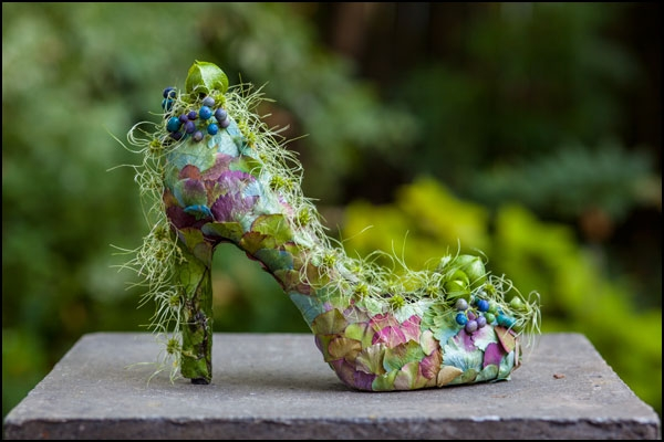 botanical shoe with hydrangea blossoms, Francoise Weeks