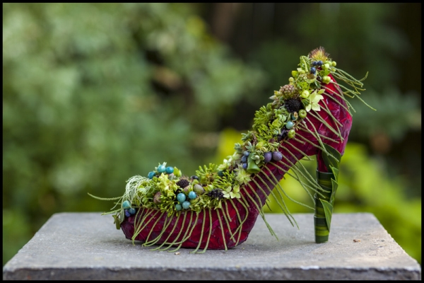 botanical shoe with rose petals, australian fern and lots of texture, Francoise Weeks