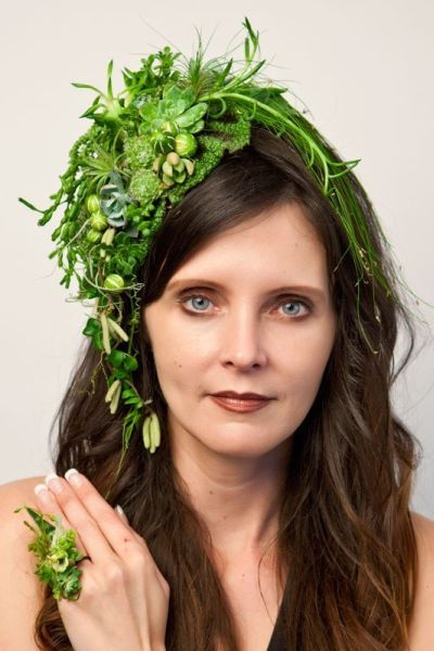 green botanical headpiece  and ring , Françoise Weeks