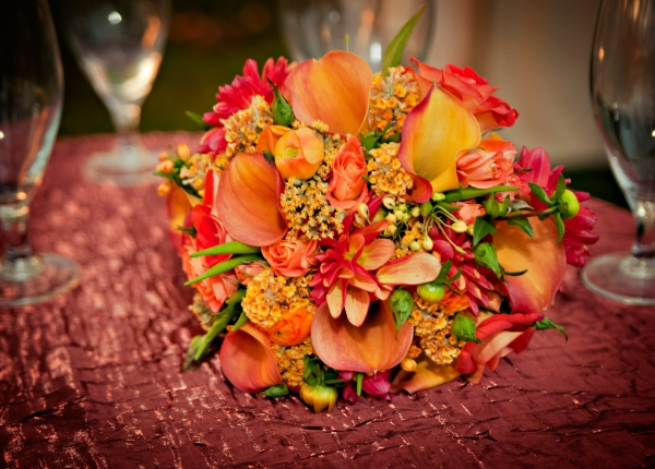 orange and yellow bridesmaid's bouquet, Francoise Weeks