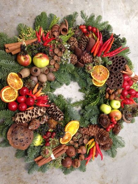 Xmas wreath with red peppers, Francoise Weeks