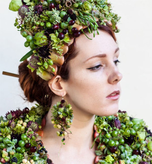 botanical earrings, scarf and headpiece, Francoise Weeks